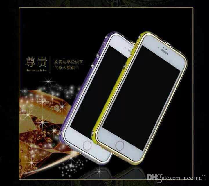 Für iPhone 6 4,7 Zoll Luxuxh-Marken-Metallrahmen-Stoßdämpfer Deluxe Bling Rhinestone-Diamant-ultra dünne runde Bogen-Aluminiumkasten-Abdeckung für iPhone6
