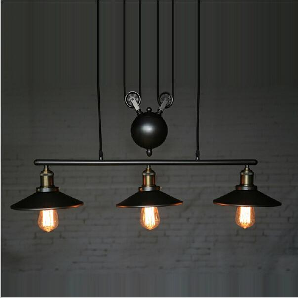 New Design Rh Lightings Retro Iron Pulley Pendant Lights Loft American Vintage  Industrial Pulley Rope Antique Edison Pendant Lamps Modern Ceiling Lamps ...