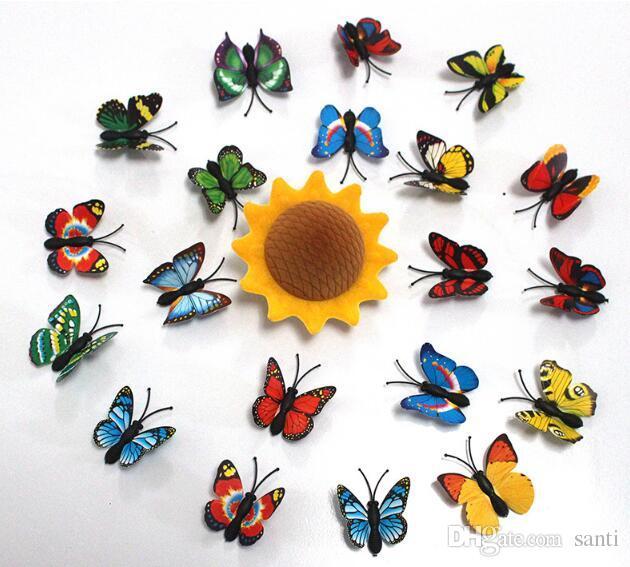 Yapay 3D Kelebek Dolabı Magnet Sticker Buzdolabı Mıknatısları Ev Dekorasyon