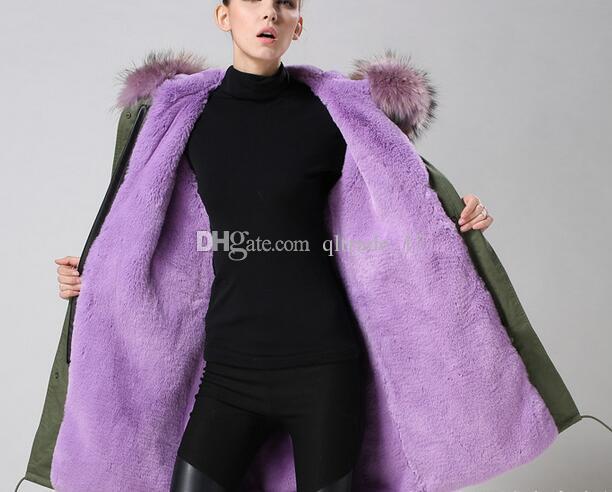 Meifeng marka Lavanta kürk trim itlay lavanta tavşan kürk astar ordu yeşil uzun parkas kadınlar kar palto tavşan kürk kanvas ceketler