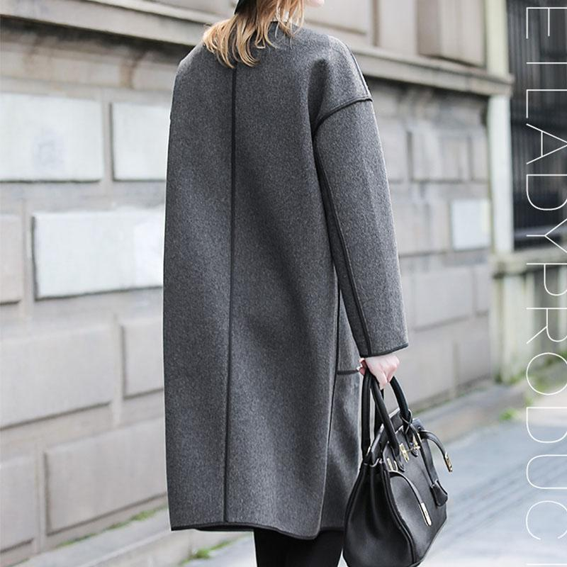 2016 Europe Style Winter Women Wool Blend Long Coat Long Sleeve Loose Trench Coats Elegant Cape Overcoat Size S-1XL B0141
