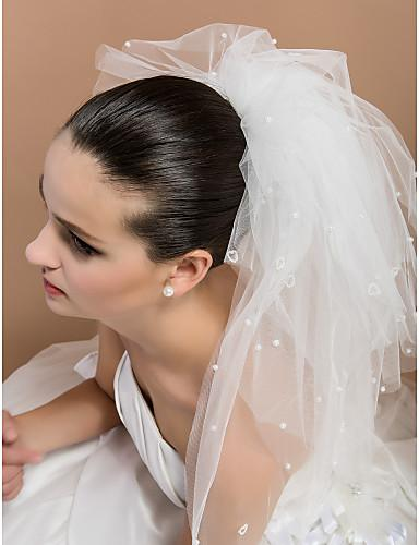 2018 simple romantic Two Layer Elbow Wedding ivory short beading Bridal Veil cheap price free shig cheap hot sale high quality