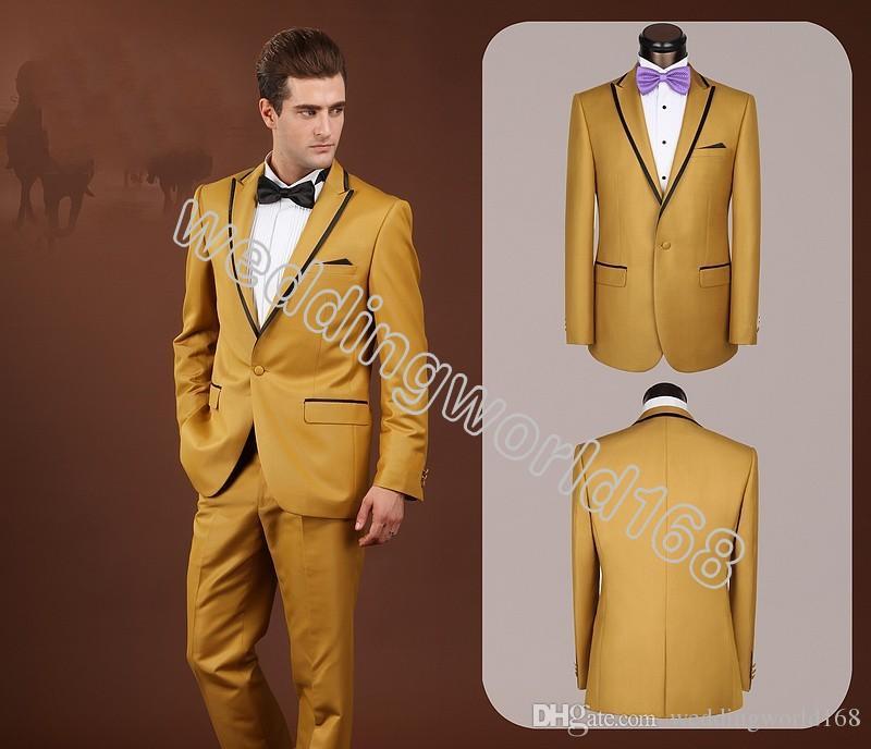 Hot Sale Center Vent Groom Tuxedos Peak Lapel Best Man Suit Gold ...
