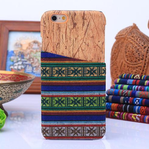 Newest Fabric Retro Tribal Wove Wooden Case PC cover Card Slots for iphone 6 plus 5 5S Samsung Galaxy s6 S5 Note 4 3 A3 A5