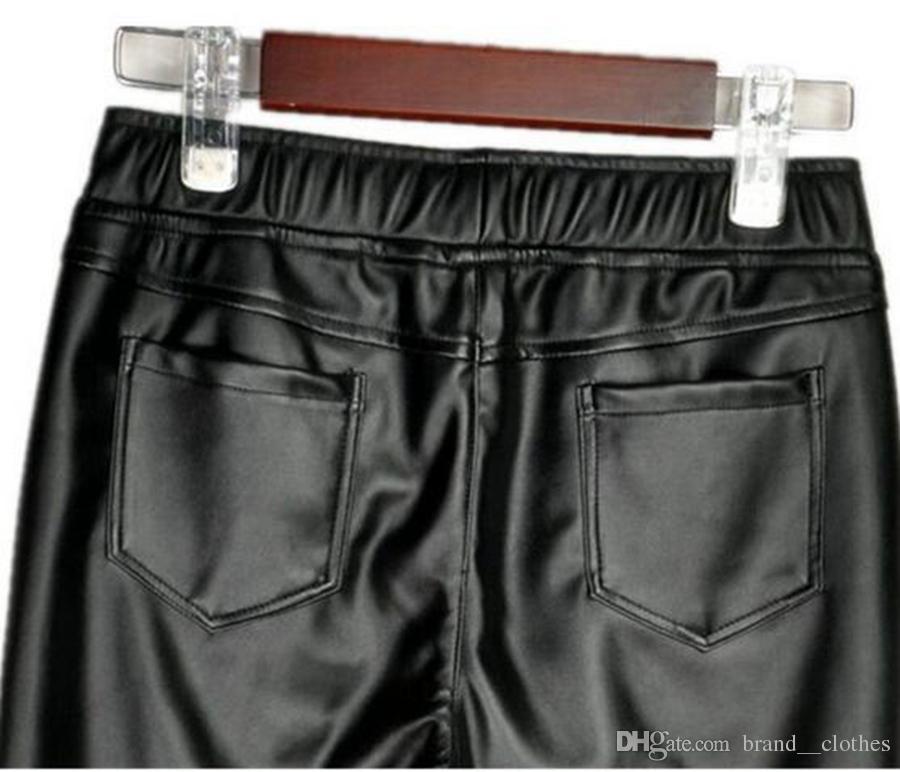 여자 한 판 카운터 정통 새로운 겨울 패션 쇼 키가 허리 따뜻한 꽉 엉덩이 큰 야드 스트레치 가죽 바지. S - 3xl
