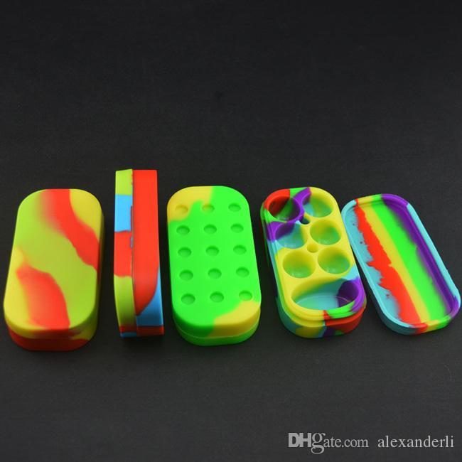 왁 스 실리콘 항아리에 대 한 다채로운 왁 스 컨테이너 6 + 1 실리콘 Contianer Dab 왁 스 홀더 전자 담배 큰 실리콘 항아리 컨테이너 상자