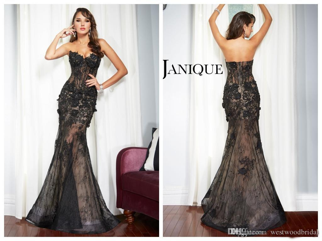 2018 evening dresses long prom dresses mermaid black lace applique
