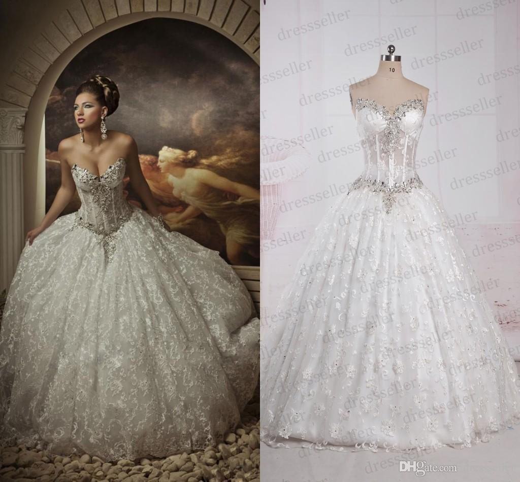 Real Image !! Lace Ball Gown Wedding Dresses Rhinestones Sweetheart ...