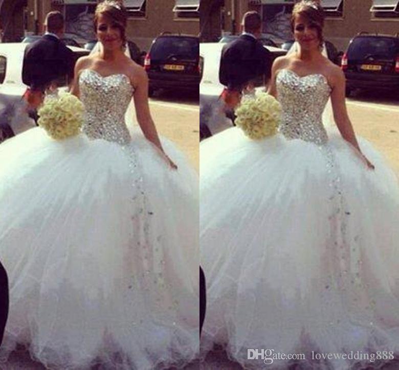 2019 Yeni Geliş Balo Gelinlik Sevgiliye Kristaller Shinning Korse Tül Kat Uzunluk Beyaz Gelinlikler Yüksek Kalite Kabarık Dres