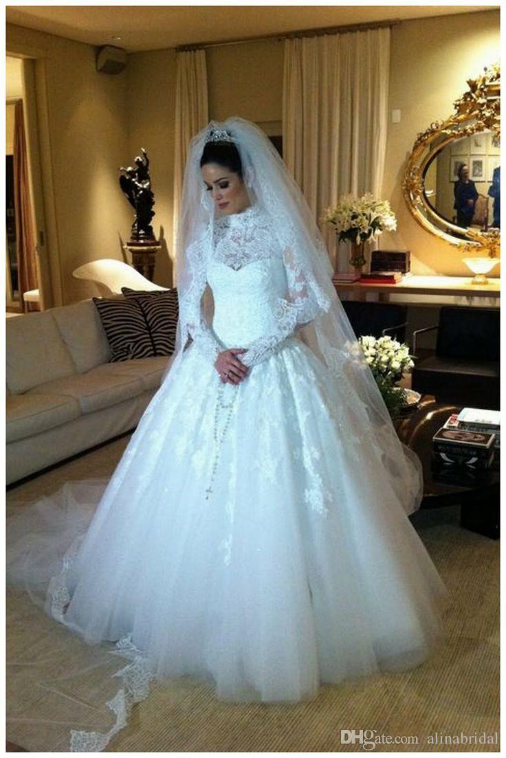 2014 koronki wysoki kołnierz Suknie ślubne z długim rękawami Wyśmienite Appiquest Court Train Sheer Suknie Ślubne Plus Size Maxi Dress