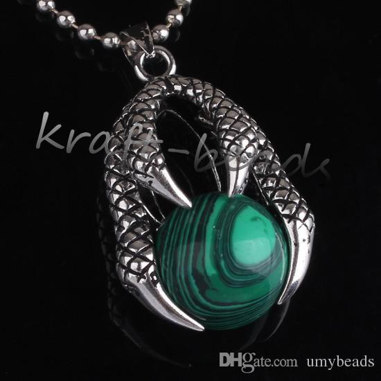all'ingrosso stile cinese placcato in argento malachite pietra rotonda tallone intarsio drago artiglio gioielli ciondolo pendente