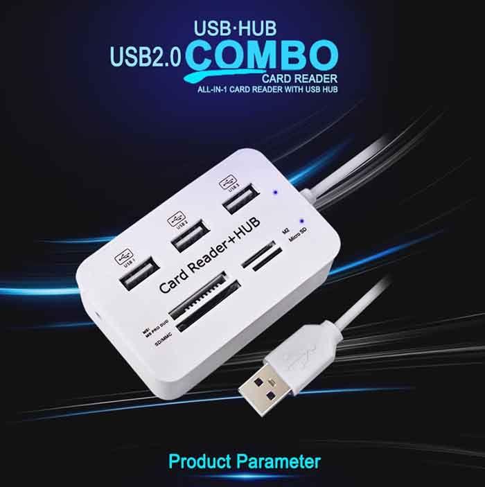 Yüksek Kalite Yeni Mikro USB Hub Combo 2.0 3 Limanlar Kart Okuyucu Yüksek Hızlı Çok USB Splitter Hub USB Combo hepsi PC Bilgisayar için Biri DHL