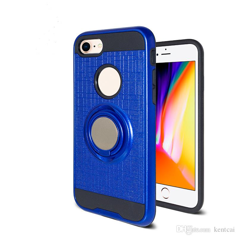 For iPhone X 8 Plus 7 6S 5S PC TPU Hybrid Defender Brushed Metal Cell Phone Case With Ring Kickstand Cover Low Price