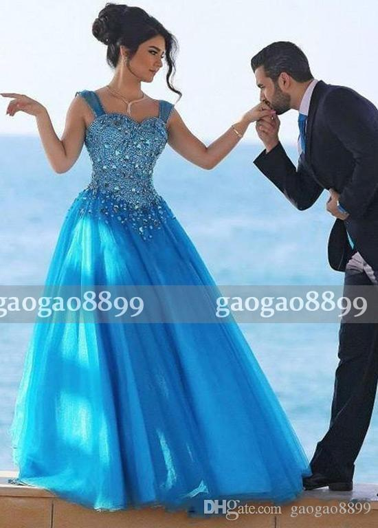 Blingbling 2017 A-Line Beaded Crystal Prom Dresses Sweetheart Neck Lace-up Back Tulle Formal Dresses Evening Wear Cheap Formal Gowns
