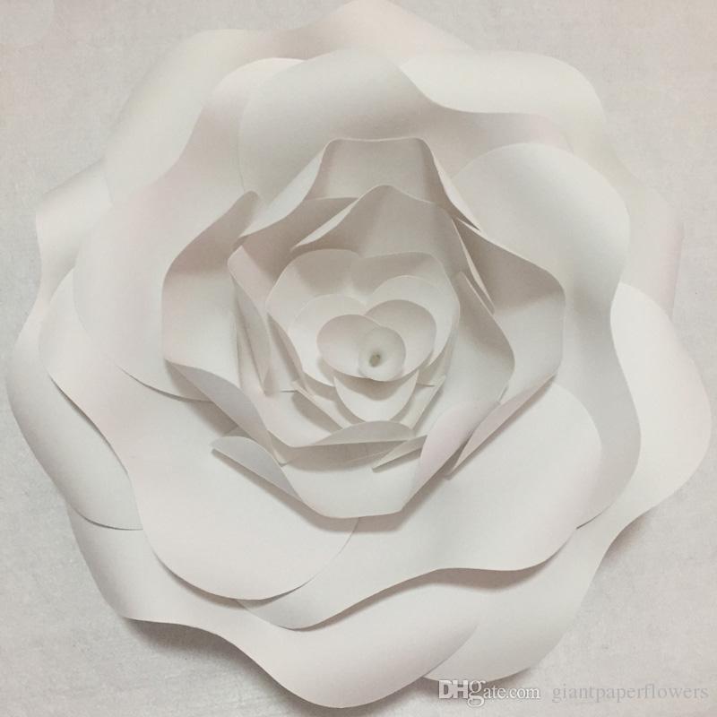 Último bricolaje medio hecho 1 pieza montado en la pared de la flor de papel gigante para la boda telones de fondo invierno Onederland centros de mesa compromiso Deco Babyshower