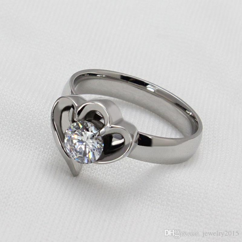 Swiss precision steel High imitation of a diamond ring Ms zircon ring Foreign trade jewelry Proposal ring