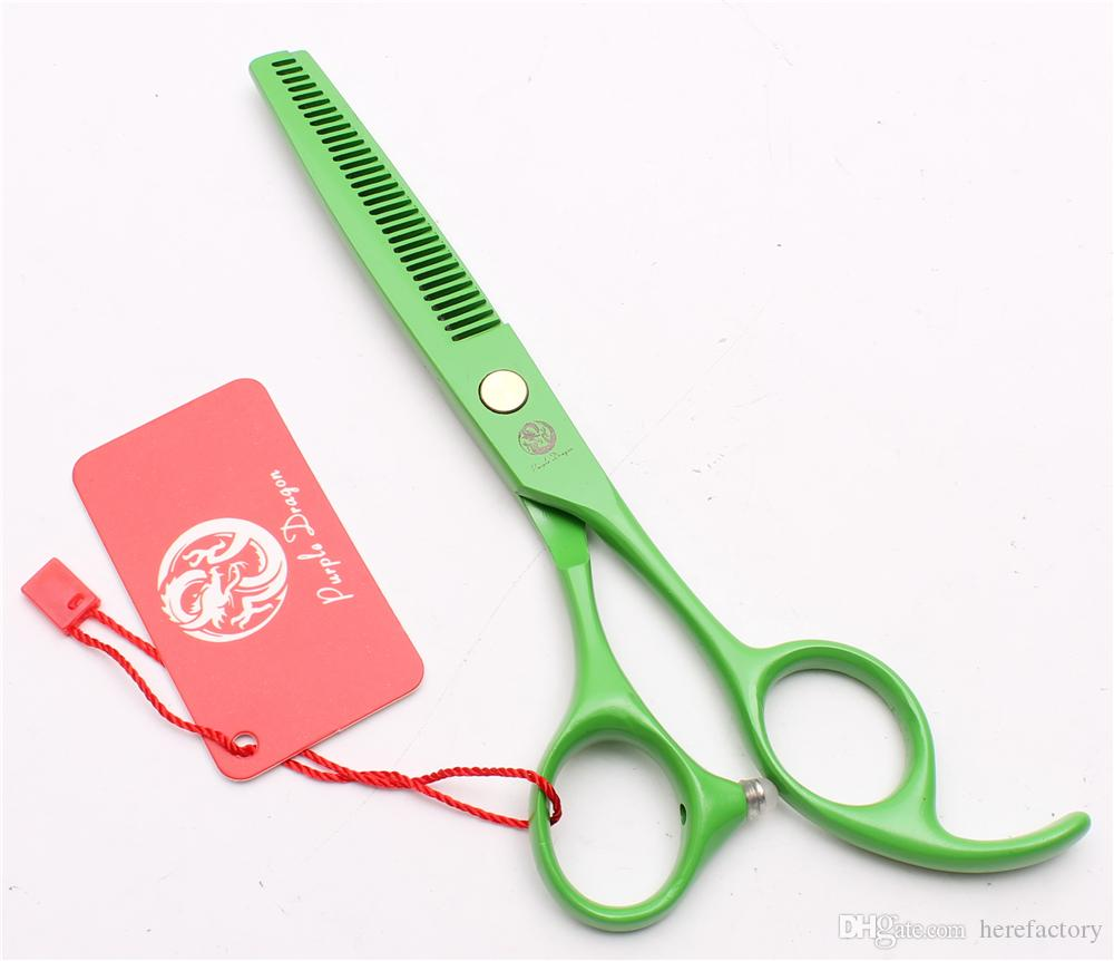 "Z1023 6"" Japan 440C Purple Dragon Laser Green Professional Human Hair Scissors Barbers' Scissors Cutting Thinning Shears Salon Styling Tools"