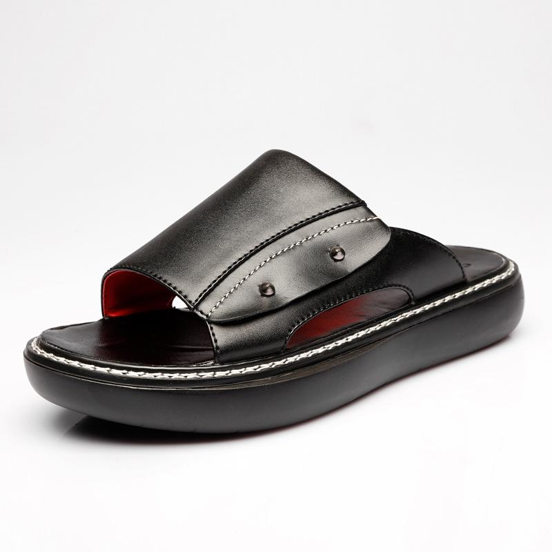 Top Real Leather Men's Women's Slippers Leather Slippers Black Gray
