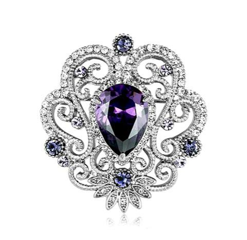 ! Beautiful Jewelry Flower Brooch with cubic Zirconia and CZ Clear Crystal Rhinestone Bouquet Brooches for Wedding
