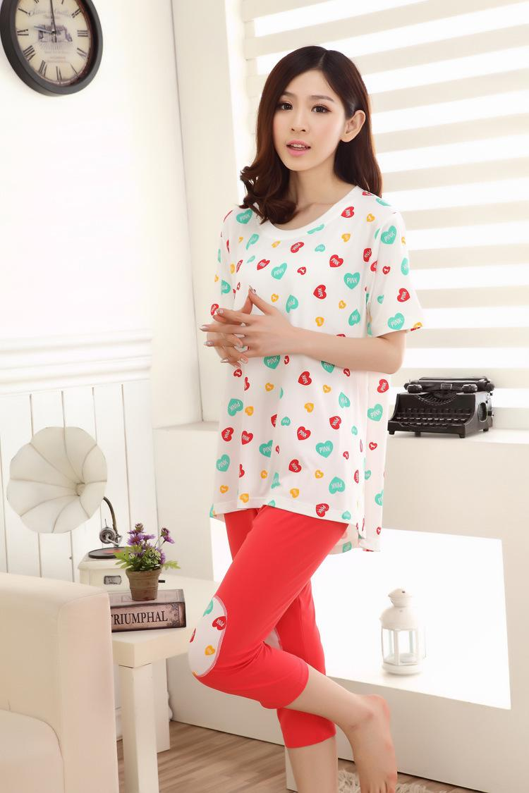 2015 Kigurumi Sleepwear Women Pijama Summer Short Sleeve T-shirt Pants Suit  Ladies Home Furnish Clothing Cartoon Love Pajamas Online with  37.8 Piece  on ... d295d50d2