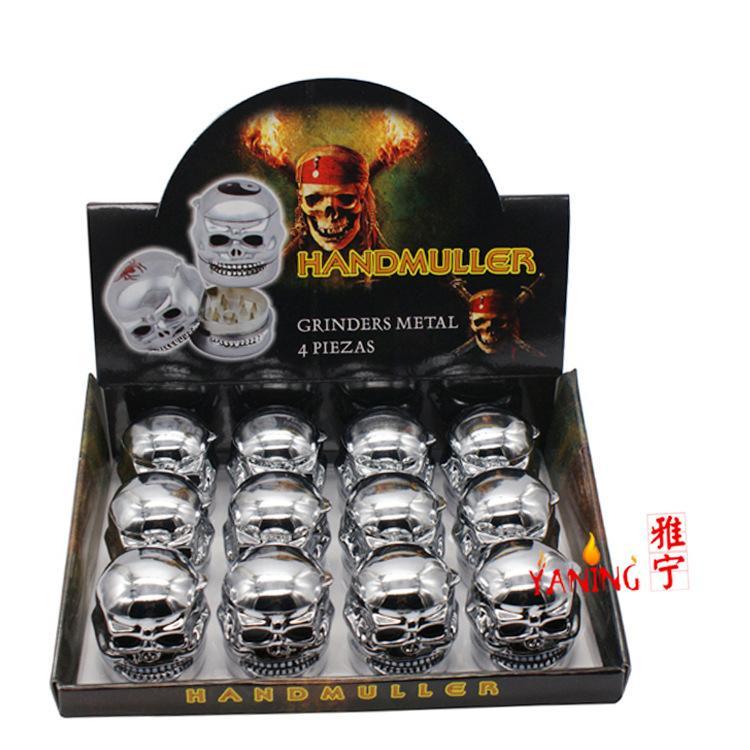 12 adet / grup Kafatası hayalet kafa tarzı tütün değirmeni metal GRINDER ot değirmeni ücretsiz nakliye için DHL [SKU: S013]