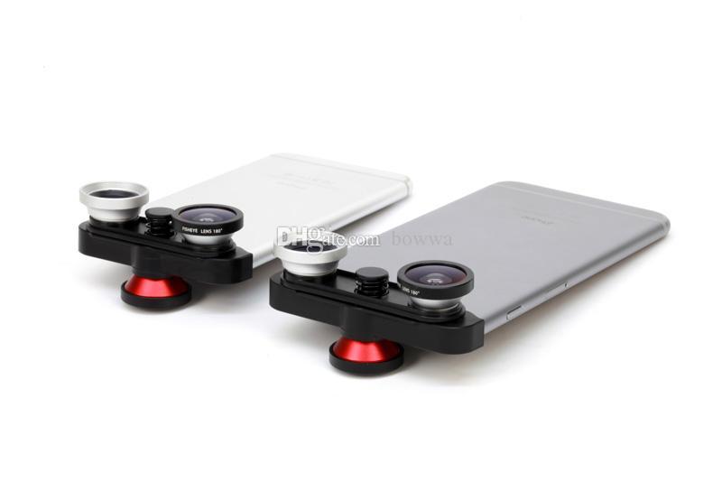Telefone móvel 4 em 1 180 graus de frente olho de peixe + lente olho de peixe + macro len + lente grande-angular para o iphone 6 ou 6 plus
