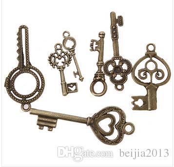 148 unids / lote On Sale Nueva Surtido de Encantos Clave Aleación Plateado Vintage Colgante de Bronce Joyería Apta DIY ZH-BJI004