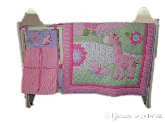 Baby bedding set 3D animal pattern baby crib bedding set 100% cotton pink deer baby Cot bedding set Baby quilt bed around