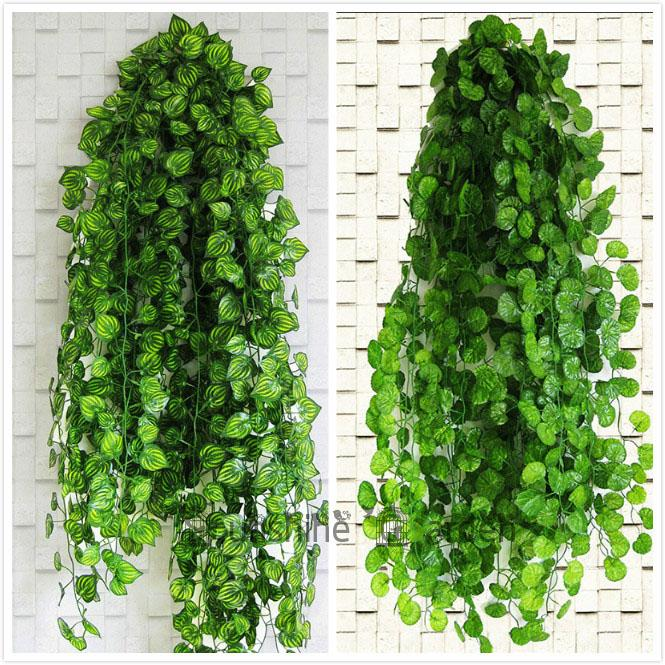 210cm Ft Long Artificial Plants Green Ivy Leaves Artificial Grape Vine Fake Foliage Leaves Home Wedding Decoration Garland