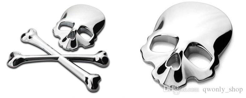 Toptan 3D Kafatası Metal İskelet Crossbones Araba Sticker Etiket Kafatası Amblem Rozet araba styling etiketler aksesuarları ücretsi ...