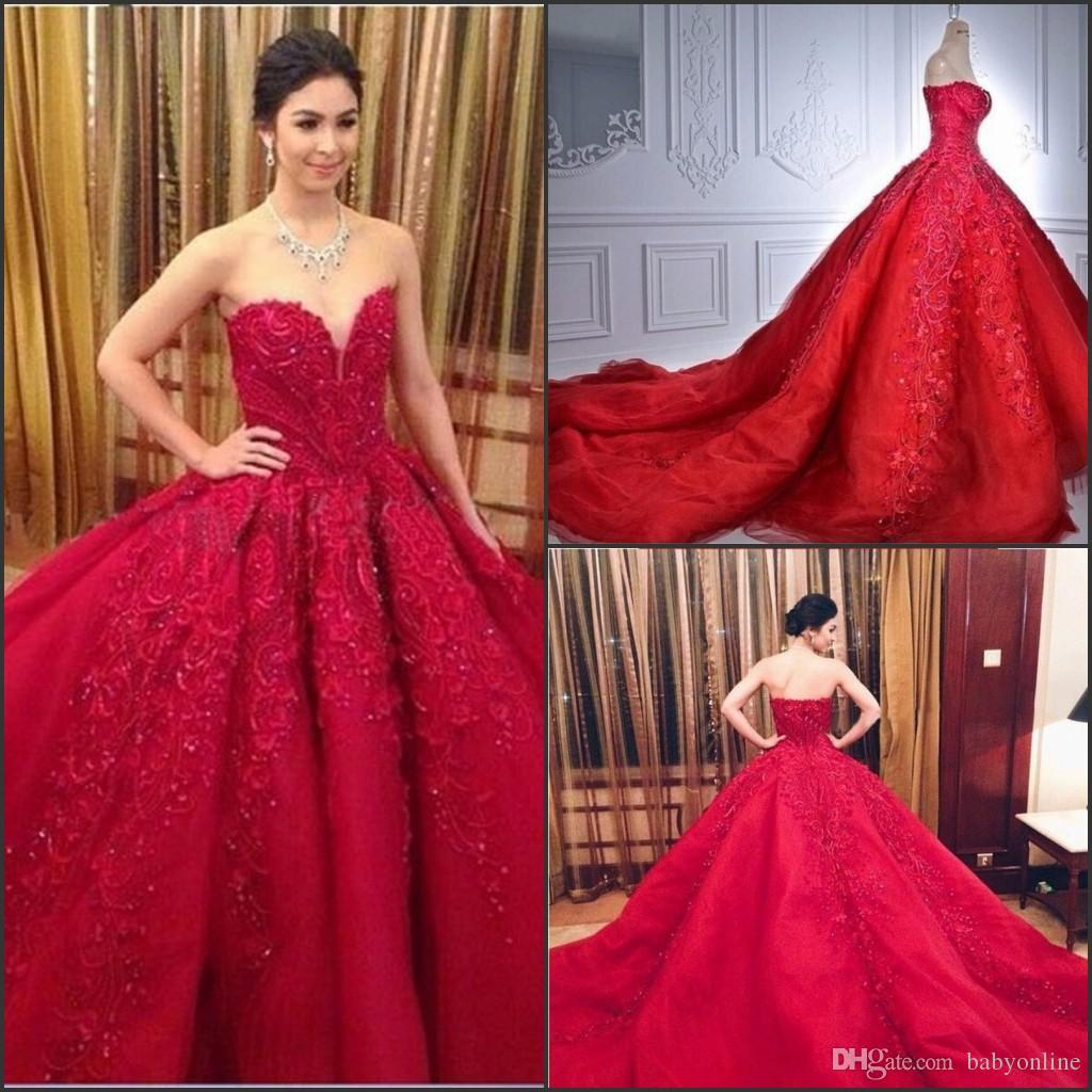 Gorgeous Red Ball Gown Prom Dresses Formal Occasion Reception ...