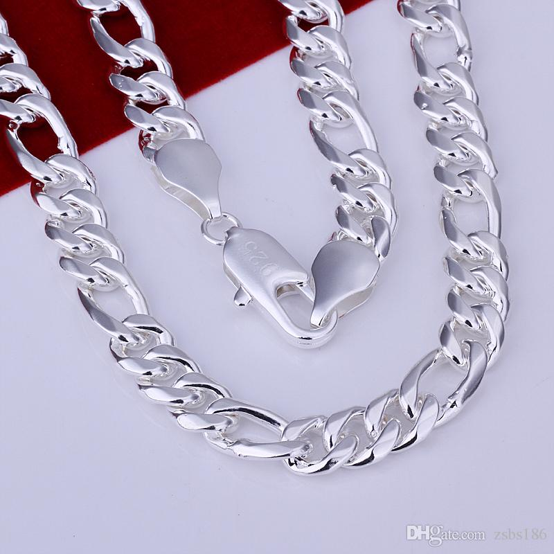 Top quality 925 sterling silver plated Figaro chain necklace 10MMX24inches fashion Men's Jewelry Low Price
