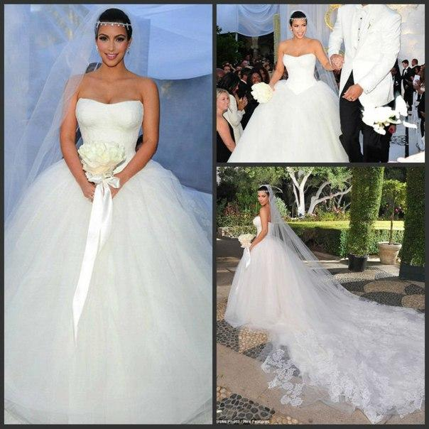 Kim Kardashian White Ball Gown Wedding Dresses Strapless ...