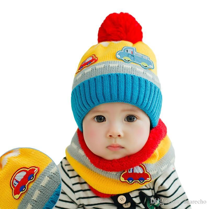 Großhandel Neue Nette Baby Mädchen Jungen Strickmütze Schal Set Auto ...