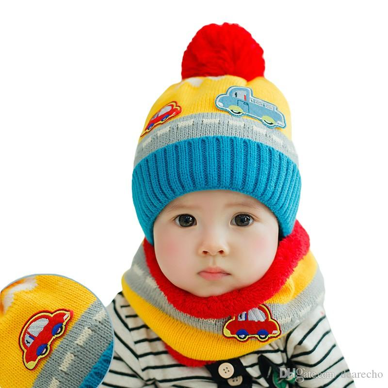 Online Cheap New Cute Baby Girl Boy Knitted Hat Scarf Set Car ...