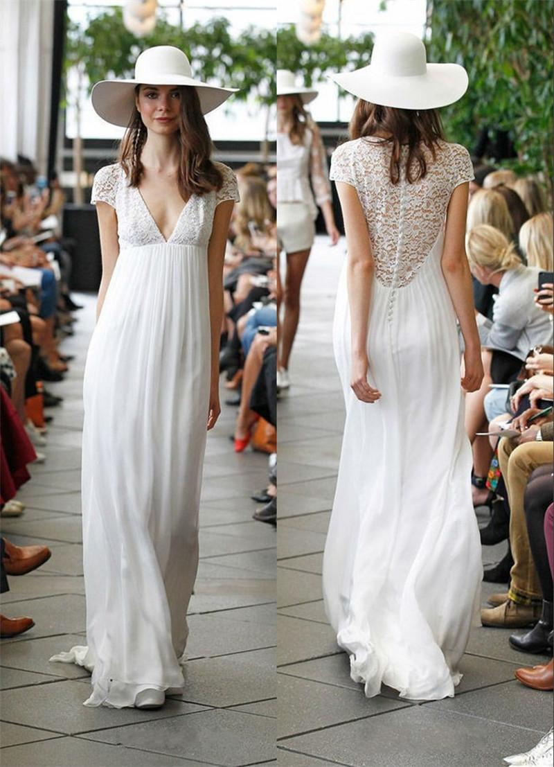 Discount Boho Hippie Wedding Dresses 2015 Sheer Vintage Lace Back A ...