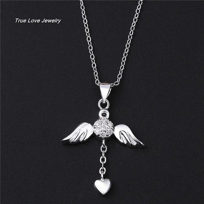 N674 새로운 아름다운 디자인 지르콘 패션 주얼리 웨딩 선물로 925 스털링 실버 천사 날개 심장 펜던트 목걸이 무료 배송