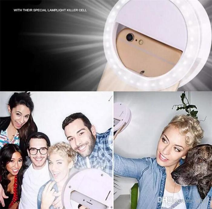 Portable Universal Selfie Ring Flash Lamp Light Mobile Phone LED Fill Lighting Camera Photography For Iphone X 8 7 plus Samsung S8 DHL