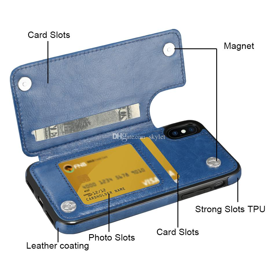 حالة فتحة بطاقة الائتمان ل Samsung Note 20 S20 Plus Pu Leather Flip Cover Case for iPhone 12 11 Pro Max XS Max XR 7 Plus مع حقيبة OPP