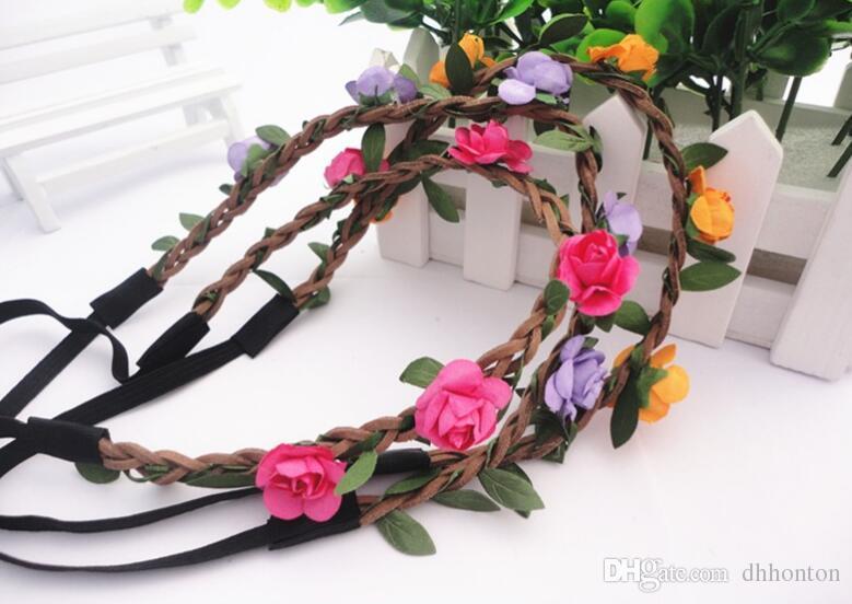 Praia flor enfeites de cabeça guirlanda de papel Artificial flor casamento guirlanda praia flor estame DIY grinalda simulação flor BT019