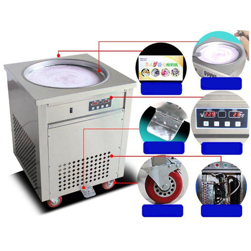 110 v / 220 v Tay kızarmış dondurma rulo makinesi yuvarlak tava kızartma buz makinesi 50 cm pan rulo makinesi Dondurma Yapımcıları
