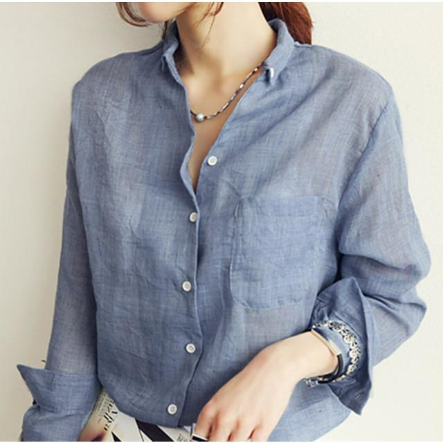 2019 Cotton Linen Shirt Blouse Autumn New Women Blouses White Gray