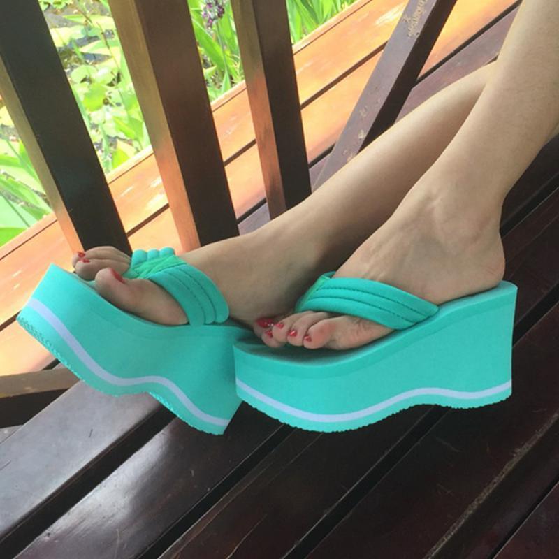 2017 Women Summer High Heel Slippers Platform Sandals Ladies Wedges Sandals Brand Flip Flops Shoes Women Beach Slippers