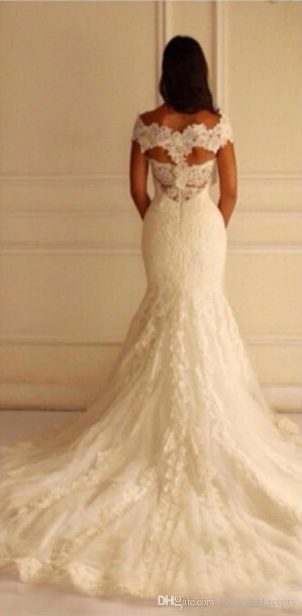 Stunning Plus Size Mermaid Wedding Dresses Fit and Flare Lace Appliqued Bridal Gowns V Neck Off the Shoulder Custom Made