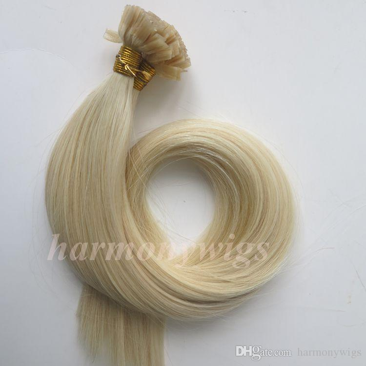 Pre bonded Flat Tip Hair Extensions 100g 100Strands 18 20 22 24inch #60/Platinum Blonde Brown Brazilian Indian Keratin Human Hair