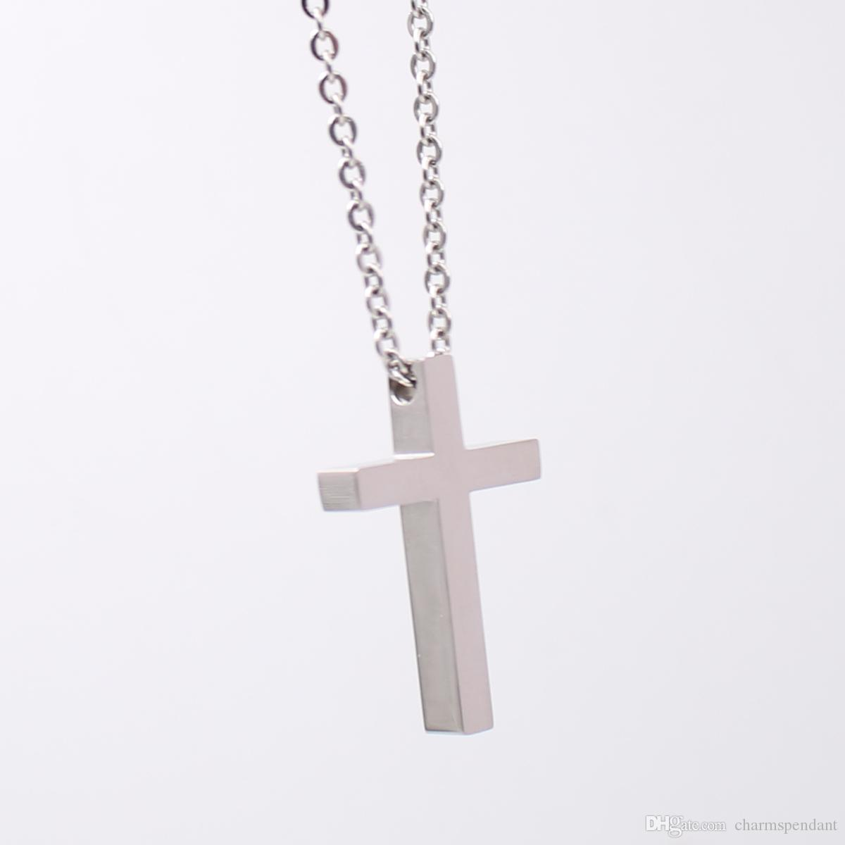 High Polished silver stainless steel religious cross symbol pendant necklace free with chain 24 inch for Men woemn