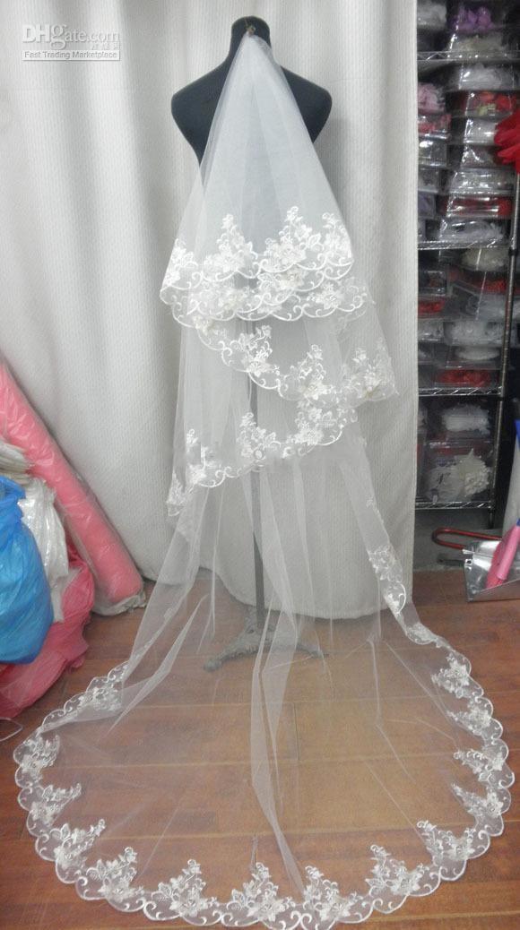 Lace Edge 2T Wedding Veils Bridal Accessories Chapel Train Luxury Classy Wedding Bridal Veils