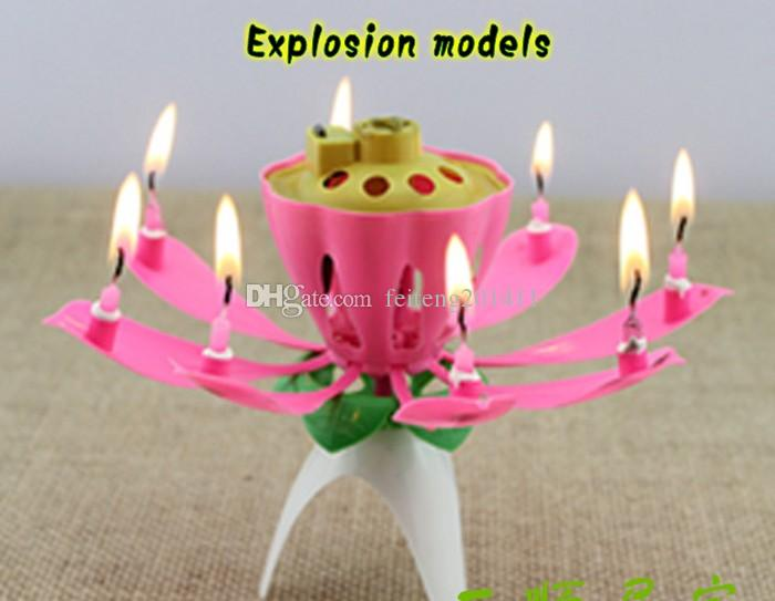 Lotus Flower Music Candle Beautiful Blossom Birthday Party Cake Sparkle Topper Yanky Candles From Feiteng201411
