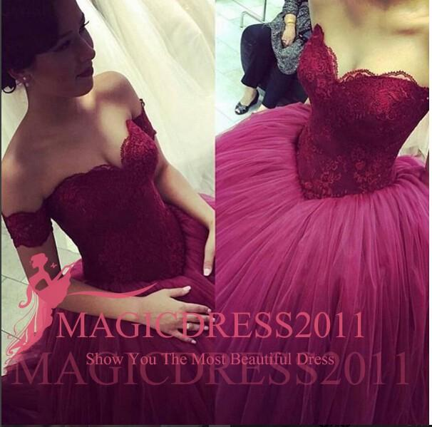 Princess Dark Red Prom Dresses Backless Long Formal Evening Gowns 2015 Occasion Dress Ball Gown Off-Shoulder Appliques Party Celebrity