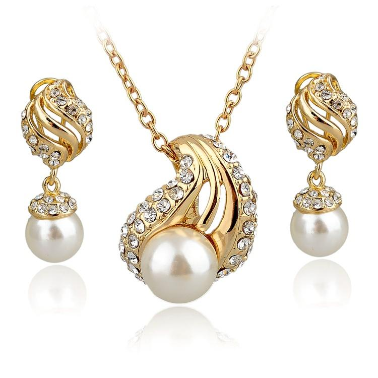 TOP Quality GoldSilver Jewelry Set For Women Full Austrian Crystal